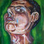 Federico - acrilico ed olio su cartone, 50x77,5 - ritratto di Federico Malpetti