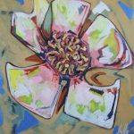 Fiore XVII - acrilico ed olio su tela, 70x80
