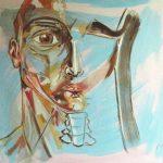 Nello studio - acrilico ed olio su tela, 80x80