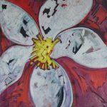 Fiore XV - acrilico ed olio su tela, 60x60