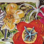 Flowers - acrilico ed olio su tela con cornice invasa, 199,5x103,5