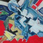 Guerriero blu - acrilico ed olio su tela, 60x60