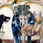 Famiglia di animali - olio su tela, 120x80