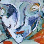 Volto - acrilico e olio su plexiglas, 46,2x38