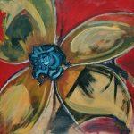 Fiore XIII - acrilico ed olio su tela, 70x70