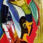 Maschera in mano - acrilico ed olio su tela, 30x40