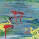 Scorcio mentale - acrilico e olio su tela, 25x25