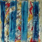 Rabbia e blu - tecnica mista su tela, 70x80