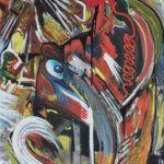 Happening - acrilico e olio su plexiglas, 77x112 - eseguito con Luca Puddu (8 anni)