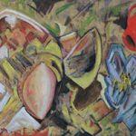 Annaffiatoio rosso - acrilico e olio su tela, 140x56,5